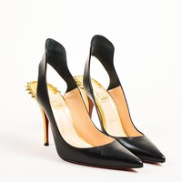DCCK2 Christian Louboutin Black and Gold Leather Spiked Survivita 100 Pumps