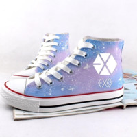 Japanese harajuku hand-painted luminous canvas shoes