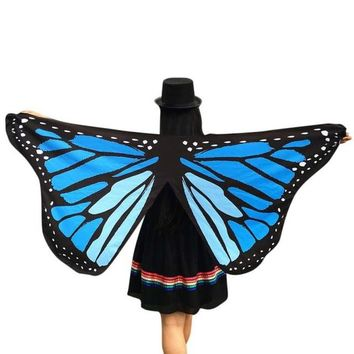 Women Pashmina Butterfly Wings Fairy Print 2017 New Fashion Soft Polyester Ladies Nymph Pixie Costume Wrap Scarf Women 1216#