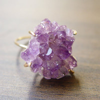 SALE Amethyst Crystal Druzy Ring