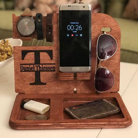 Wooden Docking Station, Wood Docking Station, Cell Phone Dock, Charging Station, Personalized Valet, Mens Wood docking station, gift for men