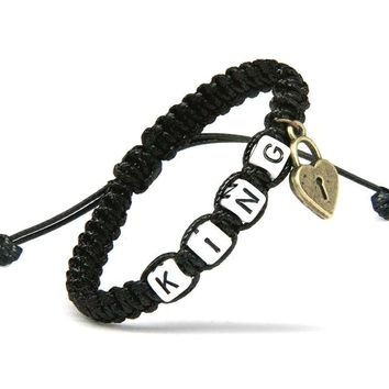 Cool 2pcs/pair Couple Bracelets King And Queen With Key Lock Black Rope Chains Lovers Gift Handmade Girlfriend Jewelry Charm BraceletAT_93_12