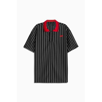 dp rugby polo / black stripe + red