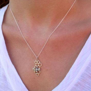docona Punk Gold Silver Color Bumble Bee Honeycomb Pendant Necklace