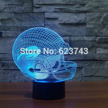 Buffalo Bills American Football cap helmet 3D NFL LED Color Changing Decor night light by Touch induction control and batteries