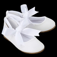 White Ballet Flats Girls Dress Shoes with Grosgrain Ribbon