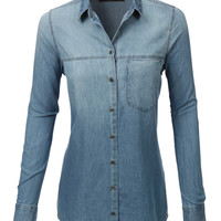 LE3NO Womens Oversized Chambray Long Sleeve Button Down (CLEARANCE)