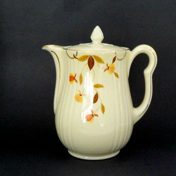Hall Coffee Pot, Autumn Leaf Coffee Pot, Hall Superior Products, Mid Century Kitchen Coffee Pot, Gilt Trim, Full Size