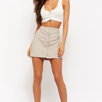 Plaid Button-Front Mini Skirt