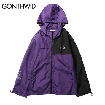 GONTHWID Color Block Patchwork Full Zip Up Hoodie Jackets Mens 2018 Autumn Fashion Casual Track Hooded Jacket Coats Streetwear