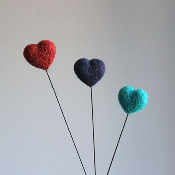 wool felted hearts on sticks // red, dark blue, turquoise blue - needle felted hearts - home decor - love gift for her