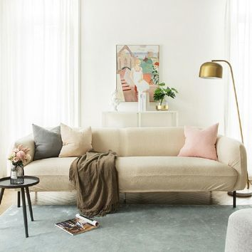 Sofa Covers Jacquard Spandex Fabric Stretch Slipcover in Camel