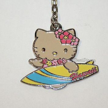 Licensed cool Hello Kitty Island Girl Surfboard HAWAII Metal Charm Key Ring Chain Keychain