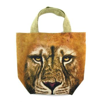 Small African Lion Face Print Fabric Lunch Tote Bag | DOTOLY