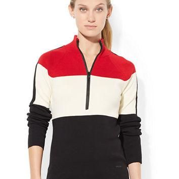 Lauren Ralph Lauren Color-Blocked Mockneck Sweater
