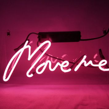 "New Neon Sign Pink 'Move Me' Cool Led Lamp Light Decoration 12.6"" x 6.7"" For Home Beer bar Pub Hotel Beach Recreational Game Room"