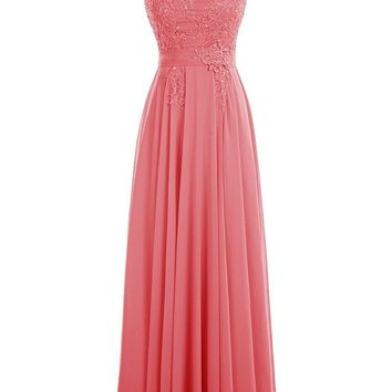 Fashion Plaza Women's Long Scoop Chiffon Bridesmaid Prom Dresses with Lace Appliques Gowns