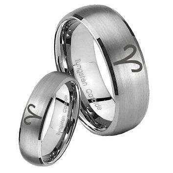 His Her Satin Silver Dome Aries Zodiac Tungsten Carbide Wedding Rings Set