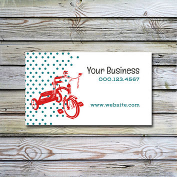 Customized business card design Polka dots with trike business card design Printable Stylish and memorable business Etsy shop Tricycle