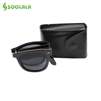 SOOLALA Brand Designer Foldable Mirror Sunglasses UV400 Women Fashion Horn Rimmed Folding Sunglasses Mens with Compact Pocket