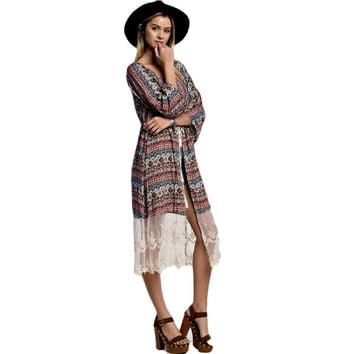 Printed Duster with Lace, Rust-Olive