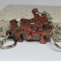 Puzzle Pieces Interlocking His and Hers Keychains set Set 11