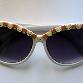 customised kawaii rilakkuma cute embellished white festival sunglasses