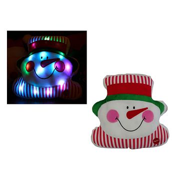 Tache Cute Christmas Lights Chilly Snowman Microbead LED Throw Pillow (TTS140342)