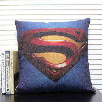 American-style, Superman Cushion Cover,Cotton Linen Pillow Cover, cushion cover sofa bedroom sitting room adornment