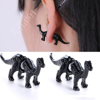 2015 Fashion Punk Gothic Personality Metal Dinosaur Dragon Ear Clip Cuff Stud Earring For Women Men piercing Earrings 8365