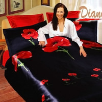 Diana Queen Bed Silk Satin Bedding Floral Duvet Cover Set