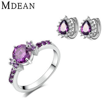 MDEAN White Gold Plated Jewelry Sets ring Purple Gem CZ diamond jewelry Engagement fashion earrings+rings for women jewelry sets