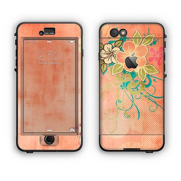 The Vintage Coral Floral Apple iPhone 6 Plus LifeProof Nuud Case Skin Set