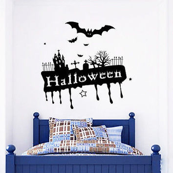 Wall Decals Halloween Vampire Castle Cemetery Bats Art Bedroom Home Decor DA3970