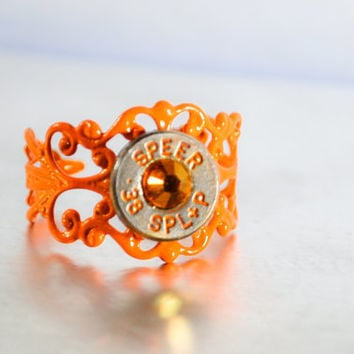 Bullet Ring - Nickel, Orange Stone and Lettering Filigree