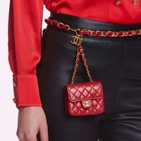 Vintage Chanel Leather Belt Bag - Red