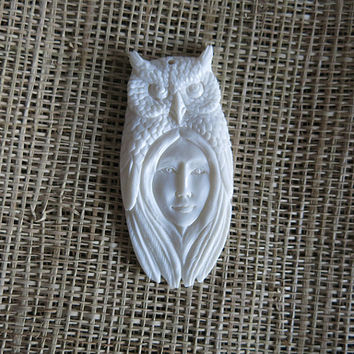 Owl, Goddess Spirit Bone Pendant, Bali Bone Carving, unique handmade jewelry from Bali