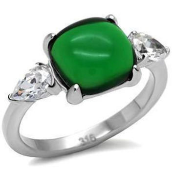 Lush Jade - FINAL SALE Pear shaped baguettes and oval jade cubic zirconia ring in stainless steel