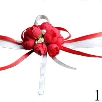 Rose Corsage Wrist Bridesmaid Sisters Bride Flowers for Wedding Bridal Prom Decoration