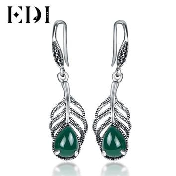 EDI Classic Design 925 Sterling Silver Indian Jewelry Gemstone Drop Earrings  For Women Natural Chalcedony Green Stone Gifts