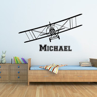 Airplane Wall Decal - Name Vinyl Sticker Personalized Custom Name Biplane Wall Decals Plane Kids Children Name Nursery Boys Room Decor AN599
