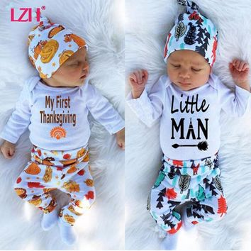 LZH 2018 Autumn Winter Newborn Baby Boys Clothes Set My First Thanksgiving Outfit Romper+Pant+Hat Sets Baby Suit Infant Clothing
