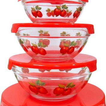 5Pcs. Glass Bowl w- Red Apple Decals - CASE OF 12