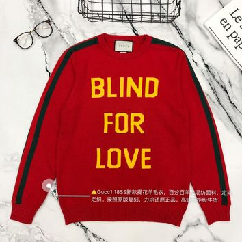 Gucci autumn and winter new men and women sweater  trend couple models print