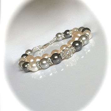 Gray Pearl Ombre Bracelet, Swarovski Pearl Bridal Jewelry, Rhinestone Bracelet, Wedding Jewelry, Bridesmaid Gift