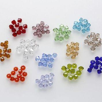 DCCKF4S 4mm 100pcs AAA Bicone jewelry crystal beads loose Glass Beads for Jewelry Making DIY Bracelet Necklace accessories TOP Quality