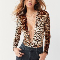Out From Under Selina Super Plunge Leopard Bodysuit | Urban Outfitters