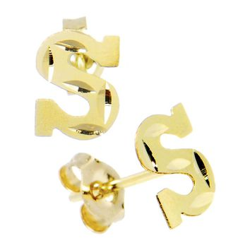 14kt Yellow Gold Initial S Stud Earrings