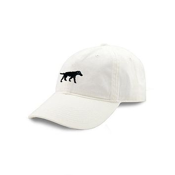 Black Lab Needlepoint Hat in White by Smathers & Branson