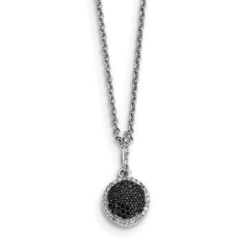 Tiny White & Black Diamond 8mm Round Necklace in Sterling Silver